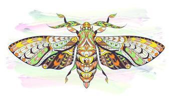 Mariposa estampada ou borboleta em fundo grunge vetor