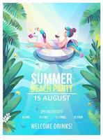 Cartaz de festa de praia verão com mulher em carro alegórico de unicórnio