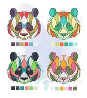 Conjunto de cabeças de panda coloridas estampadas