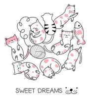 Desenho de gato bebê brincando com uma bola de lã