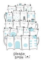 Desenhos animados bonitos azuis dos gatos do bebê