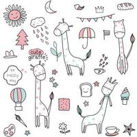 Conjunto de desenhos animados bebê girafa - padrão sem emenda