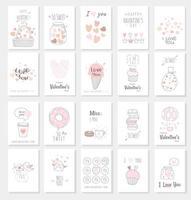 Cartão de dia dos namorados conjunto com estilo mão desenhada