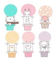 Animais bebê fofo em balões