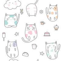 Desenho de gato bebê sonolento - padrão sem emenda