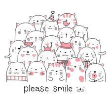 Desenho de gato fofinho rosa bebê