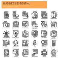 Conjunto de ícones de negócios essenciais de linha fina preto e branco vetor