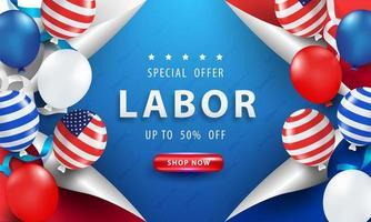 Cartaz de venda do dia do trabalho com balões e ondulação de página vetor