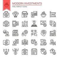 Conjunto de ícones de investimentos modernos de linha fina de preto e branco