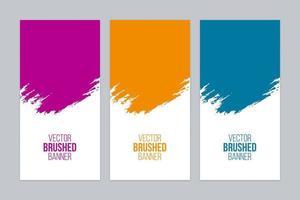 Conjunto de banner escovado colorido vetor