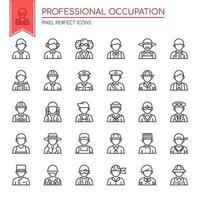 Conjunto de ícones de ocupação profissional de linha fina preto e branco vetor
