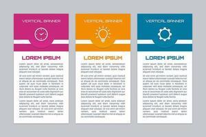 Conjunto de banner colorido infográfico vertical vetor