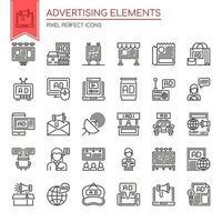 Conjunto de elementos de publicidade de linha fina preto e branco vetor