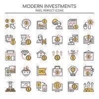 Conjunto de ícones de investimentos modernos de linha fina Duotone vetor