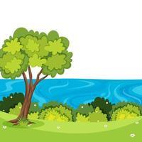 Uma bela natureza paisagem com árvores e água vetor