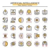 Conjunto de ícones de inteligência artificial de linha fina Duotone