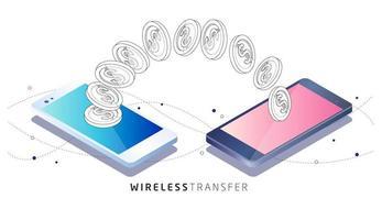 Moedas transferidas entre dois telefones celulares vetor