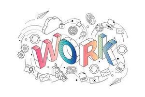 Tipografia isométrica do trabalho da palavra, cercada por dispositivos e outros ícones