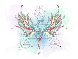 Dragão voador estampado, rodeado por elementos de geometria vetor