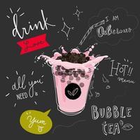 Chá de bolhas Promoções especiais Blackboard Design Poster vetor