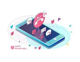 Telefone celular com ícones de chamada e notificação perdida flutuando acima vetor