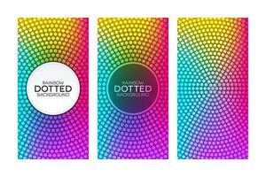 Banners de gradiente arco-íris com texturas pontilhadas circulares vetor