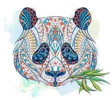 Modelado cabeça de panda mastigando folhas