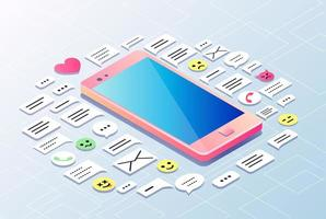 Telefone celular rodeado por ícones de bate-papo na internet