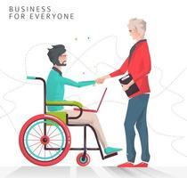 Parceria entre pessoa com deficiência, trabalhando com notebook e homem de negócios.