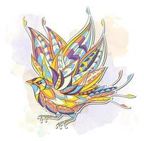 Modelado pássaro voador no fundo do traçado de pincel