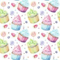 Padrão de aquarela com pirulitos de cupcakes e frutas vetor