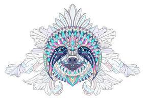 Estampados de cabeça de preguiça em fundo floral vetor