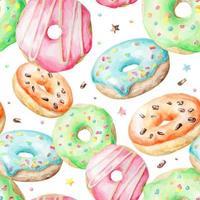 Padrão de aquarela com donuts vetor