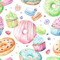 Padrão de aquarela com macarons, cupcakes, donuts