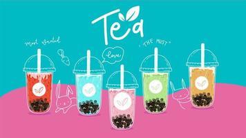 Coleção colorida de chá da bolha