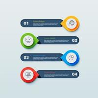 Infográfico de 4 etapas com pinos apontando para banners