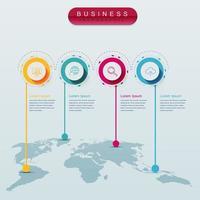 Infográfico de mapa do mundo com 4 etapas