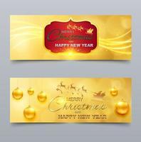 Feliz Natal com tema de ornamento dourado e feliz ano novo capa para redes sociais vetor