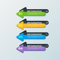Infográfico de seta dupla de 4 etapas vetor