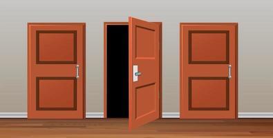 Sala com três portas vetor