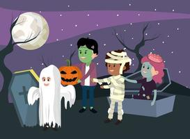 Crianças no cemitério, vestindo trajes de Halloween