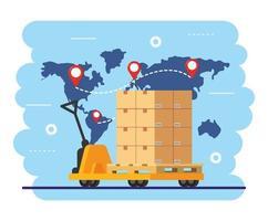 carrinho de mão com caixas e sinais de localização do mapa