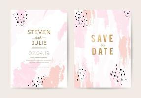 Modelo de design de cartão de convite de casamento mínimo com textura de pincel de ouro rosa e rosa