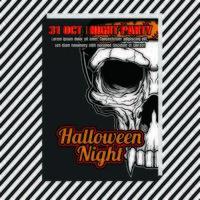 Cartaz vertical de Halloween festa noite com caveira