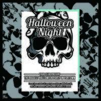 Panfleto de convite de festa de Halloween de grunge