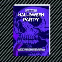 Convite roxo do vertical da noite da festa do Dia das Bruxas