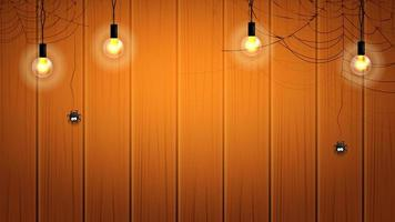 Banner de Halloween ou fundo com lâmpadas e teias de aranha com aranhas penduradas na parede de madeira