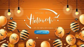 Banner de Halloween ou fundo com padrão de morcego e balões em fundo de madeira