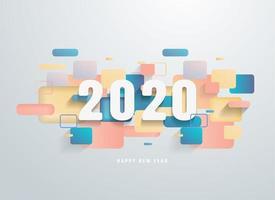 Feliz 2020 ano novo com banner de formas geométricas coloridas
