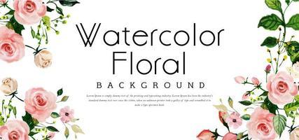 Banner floral em aquarela vetor